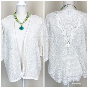 Chico's Lace Off White Shimmery Cardigan